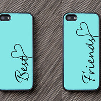 Two Matching Teal + Black Monogram iPhone Case + Silicone iPhone Case + Color like Tiffany Blue + Silver