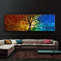 Landscape Painting Abstract Wall Art Large Beautiful Scenic Sunsets Original Tree Art Modern Painting Home Decor Red & Blue Artwork, Nandita