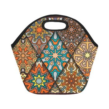 Brown Abstract Neoprene Adult Lunch Bag (Model 1669)(Small)