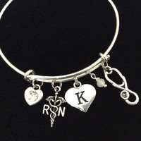 Initial Charm RN (Registered Nurse) Caduceus and Stethoscope Charm Silver Adjustable Expandable Silver Plated Bangle Bracelet Trendy Stacking One Size Fits All