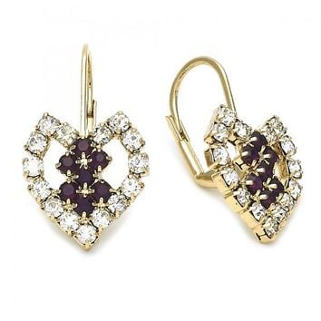 Gold Layered Leverback Earring, Heart Design, with Cubic Zirconia, Gold Tone