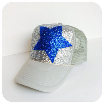 Silver and Blue Star Glitter Hat