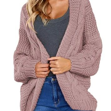 Fashion Pink Chunky Wide Long Sleeve Knit Cardigan