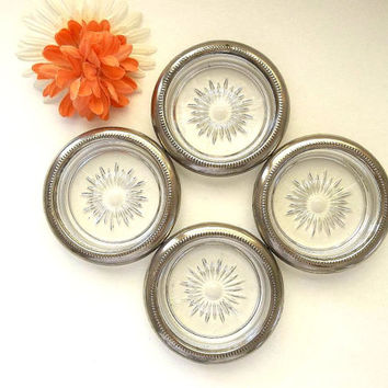 Vintage FOUR Leonard Coasters Made in Italy silver plate rim trim & glass drink coasters Starburst Sunburst pattern bar ware