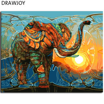 New Frameless Pictures Painting By Numbers DIY Digital Oil Painting On Canvas Home Decor Wall Art Abstract Elephant GX7997