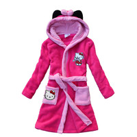 2017 new kitten pattern children bathrobe coral velvet robe robe hooded children lengthened cartoon girl