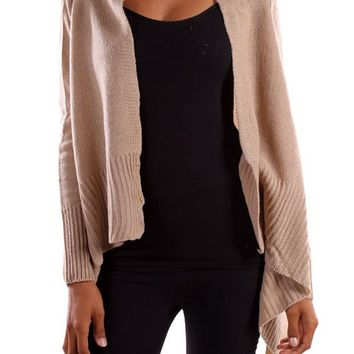 Casual Solid Long Sleeve Irregular Hem Open Draped Knit Sweater Cardigan Career