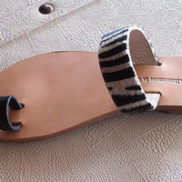 leather sandals,with a black strap finger and a wide zebra skin strap , women's shoes , sandals , greek sandals , sandal , gifts