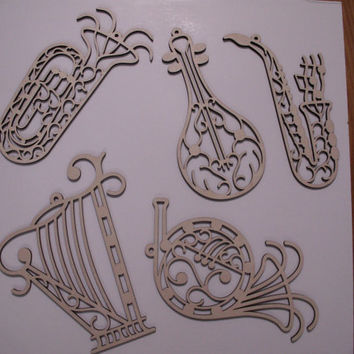 Music Instruments Wood Shapes, Harp, French Horn, Lute, Saxophone, Tuba, Laser Cut, Ornaments, Christmas Decor, Ready to Paint Wood Shapes