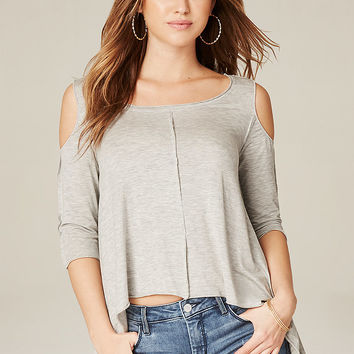 Heathered Exposed Seam Top | bebe