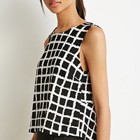 Abstract Grid Peplum Top