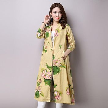 Women Trench Coat V Neck Floral Print Skirt Trench Long Sleeve Cotton Linen Autumn Outwear Size M-2XL Women Clothing