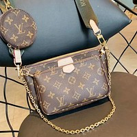 LV Hot Sale Women Shopping Bag Leather Handbag Tote Shoulder Bag Satchel Three-Piece