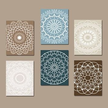 Bathroom Decor, Mandala Wall Art Canvas or Prints Bedroom Medallion Wall Decor, Kitchen Wall Art, Botanical Theme, Home Decor, Set of 6