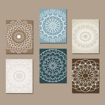 Bathroom Decor, Mandala Wall Art, CANVAS or Prints, Bedroom Medallion Wall Decor, Kitchen Wall Art, Botanical Theme, Home Decor, Set of 6