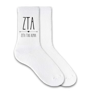 Zeta Tau Alpha - Boho Greek Letter Crew Socks