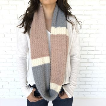 Pastel Color Block Soft Infinity Scarf