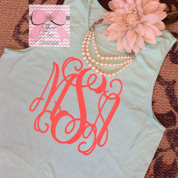 Comfort Colors Monogram Tank Top in Solid or Glitter Vinyl  Monogram Tanktop Monogrammed Tank  Top Monogrammed Gifts