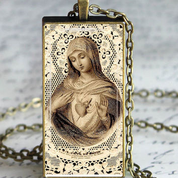 Sacred Heart Virgin Glass Tile Pendant Necklace Holy Card Jewelry Blessed Mother Catholic Jewelry