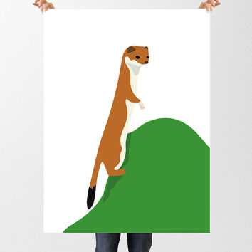 Children's Weasel Print, Nursery Art Print, Instant Download, Printable Animal Art, Woodland Nursery, Forest Art, Kids Bedroom Art