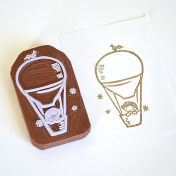 Hand Carved Rubber Stamp / Balloon