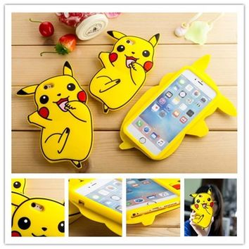 2016 New Lovely 3D Anime Cartoon 3D Pocket Monsters  Pikachu Back Case Cover For iphone 7 7plus 6 6S 6+ iphone6 plus 5sKawaii Pokemon go  AT_89_9