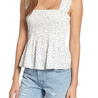 STOREE Polka Dot Smocked Top | Nordstrom
