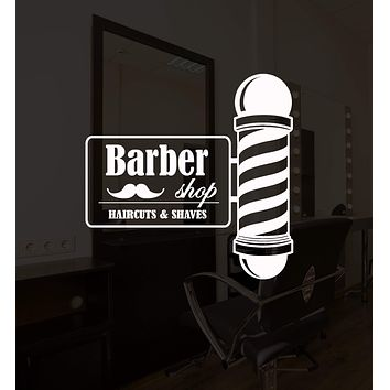 Vinyl Wall Decal Barber Shop Sign Barber Hair Salon Haircut Shaves Stickers Mural Unique Gift (ig5235)