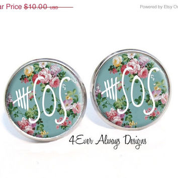 5 Seconds of Summer Floral Print Earrings