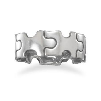 Oxidized Sterling Silver Puzzle Piece Ring: Jewelry: Amazon.com