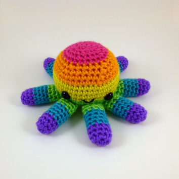 Big Octopus - Bright Rainbow Striped - Made to Order - Amigurumi Crochet Plushie