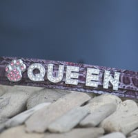 Purple Leather dog collar, Personalized gift, Dog Lovers, Birthday Gift