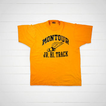 90s Vintage Track T-Shirt / Montour Jr Hi Track vintage tee by Screen Stars / Made in USA