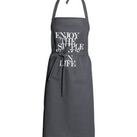 H&M - Apron with Printed Text - Dark gray