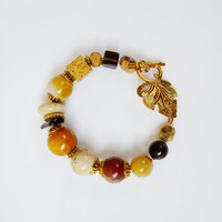 Natural stone smoky quartz, lava, jasper bracelet / Brown beige gold colour bracelet / Fall colour leaf bracelet