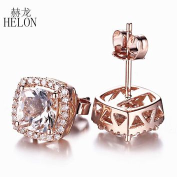 HELON 14K Rose Gold Cushion Cut Morganite & Pave Natural Diamond Stud Earrings for Women