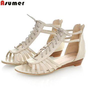 Plus size 34-43 gladiator women sandals wedges low heels casual summer shoes woman cut