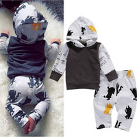 Cute Autumn Spring Toddler Kids Baby Boys Hoodie Tops +Pants Leggings 2Pcs Outfits Set Children Clothes