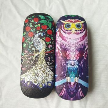 LIUSVENTINA Hot Story Cute Secret Garden Peacock Owl Frame Glasses Box Sunglasses Case Gift for Girls and Friends