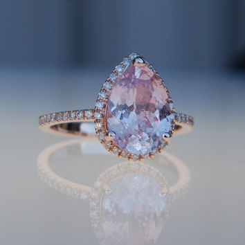 2.8ct Pear shape Peach champagne sapphire 14k rose gold diamond ring engagement ring