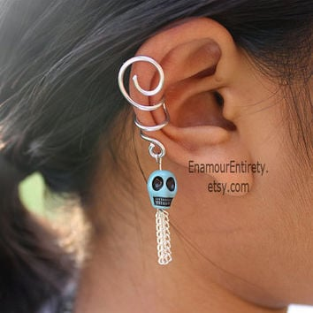 Silver (or Gold) Turquoise Skull Ear Cuff