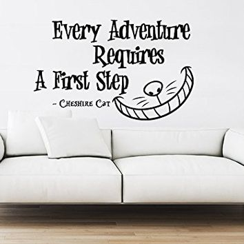 Alice in Wonderland Wall Decal Quote Vinyl Sticker Decals Quotes Every Adventure Requires Quote Decal Cheshire Cat Wall Decor Nursery ZX25