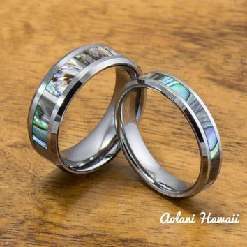 A Set of Abalone Inlay Tungsten Ring (5mm - 8mm Width, Flat style)