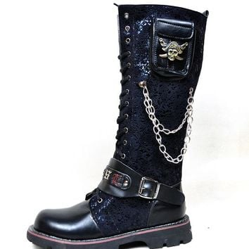 Black Army Gothic Boots Men Military Combat Metal Skull Buckle Motorcycle Punk High Leather Men's Shoes Rock Bota Masculina Hot - Blue, 6