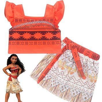 Z&Y 2-7Years Fancy Moana Dress Cosplay Girls Clothing Teen Moana Party 2pcs Sets Baby Dress Infant Kids Costume Robe Fille 9012
