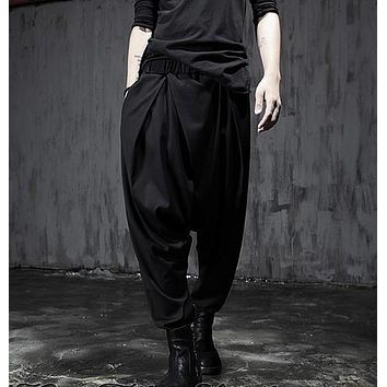 HOT 2016 New Spring elastic waist novelty harem pants boot cut Nightclubs hair stylist trousers singer stage costumes pants
