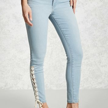 Contrast Lace-Up Skinny Jeans