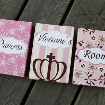 Set of 3 Mini Posh Princess Personalized Stretched Canvases Baby Nursery CANVAS Bedroom Wall Art 3CS031