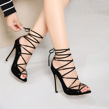 Sexy Chains Rope Sandals Strappy High Heel Gladiator Sandals Women Lace Up Ankle Strap Women Shoes Summer Dress Shoes