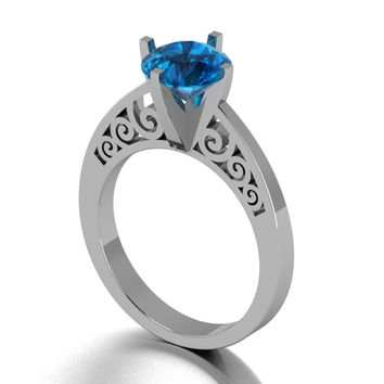Gothic Scroll Engagement Ring in 14 k London Blue Topaz